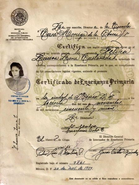 1959 Laura Luna Certificado