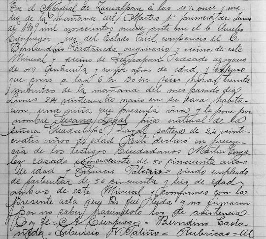 Acta de nacimiento de Susana —primer nombre asignado a Bertha.